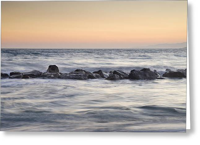 Silver Sea At Sunset Greeting Card by Guido Montanes Castillo