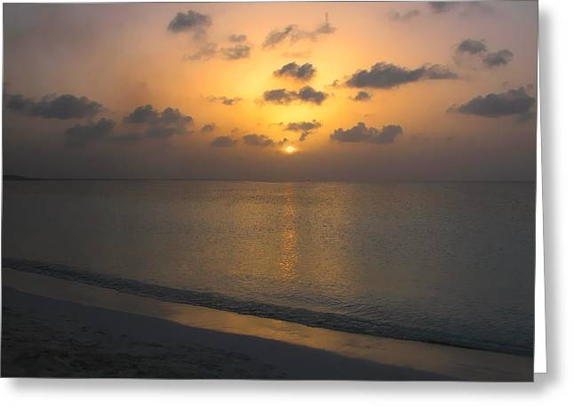 Sunset Prints Greeting Cards - Silver Sea Greeting Card by Stephen Anderson
