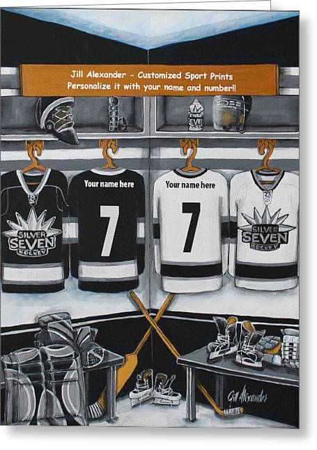 Hockey Paintings Greeting Cards - Silver Seven Greeting Card by Jill Alexander
