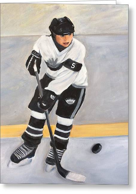 Hockey Paintings Greeting Cards - Silver Seven Greeting Card by Sharron Bonnar