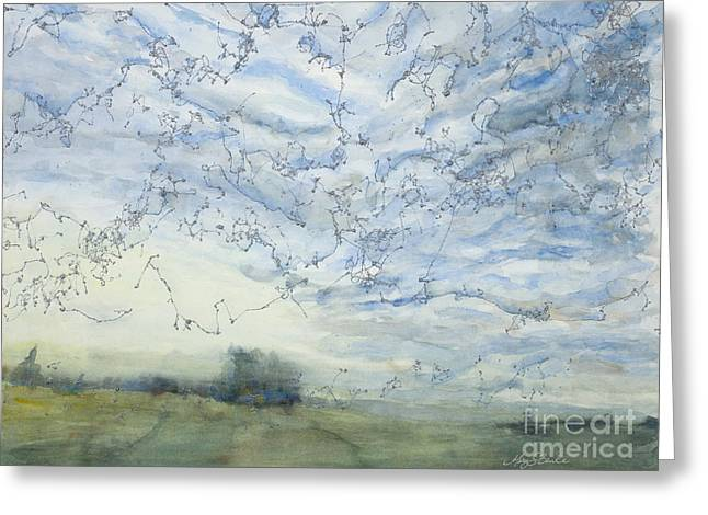 Park Scene Paintings Greeting Cards - Silver Sky Greeting Card by Mary Benke