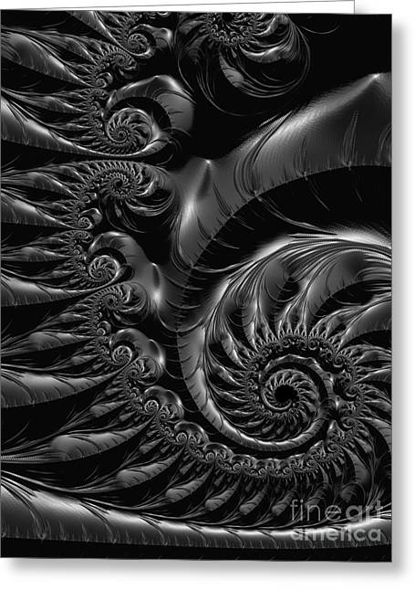 Rotate Greeting Cards - Silver Spiral  Greeting Card by Heidi Smith