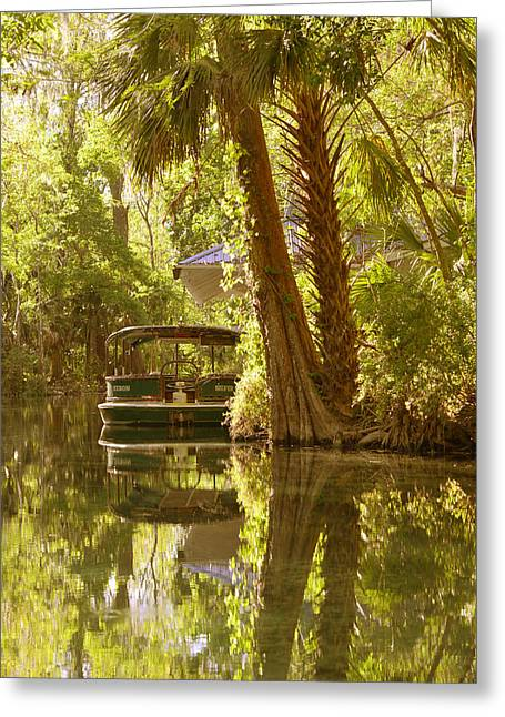River Boat Greeting Cards - Silver Springs Glass Bottom Boats Greeting Card by Christine Till