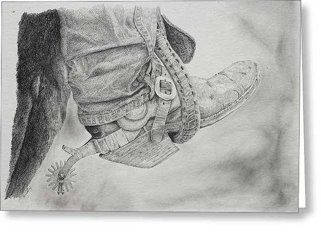 Cowboy Pencil Drawing Greeting Cards - Silver Spurs Greeting Card by Steve Cost