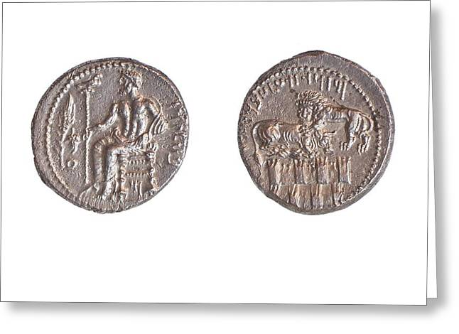 Baal Greeting Cards - Silver stater 10.7 gr Tarsos Greeting Card by Science Photo Library