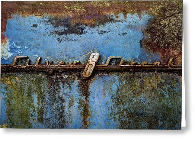 Rusted Cars Greeting Cards - Silver Streak Greeting Card by Debra and Dave Vanderlaan