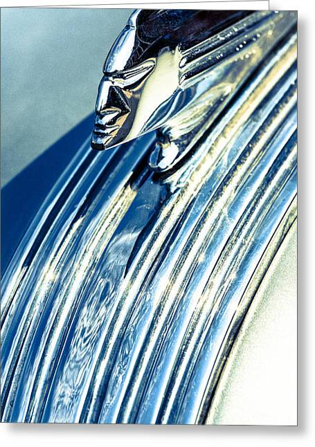Silver Turquoise Greeting Cards - Profile in Chrome II Greeting Card by Caitlyn  Grasso