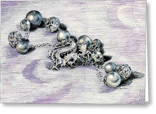 Pendants Drawings Greeting Cards - Silver Tangle Greeting Card by K M Pawelec