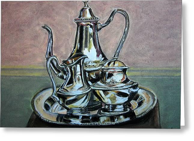 Set Pastels Greeting Cards - Silver Tea Set Greeting Card by Mike Benton