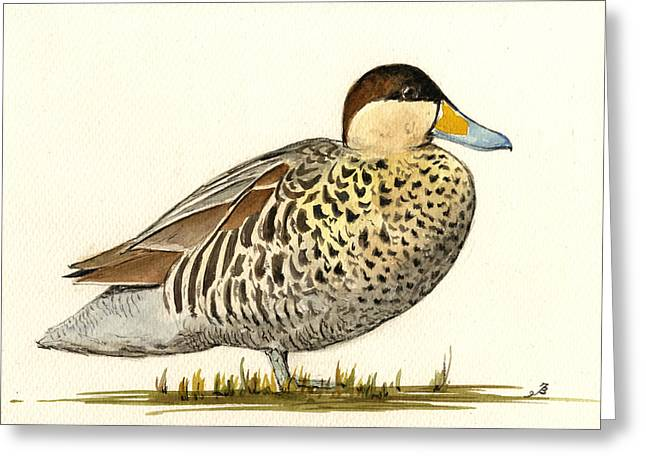 Silver Teal Greeting Card by Juan  Bosco