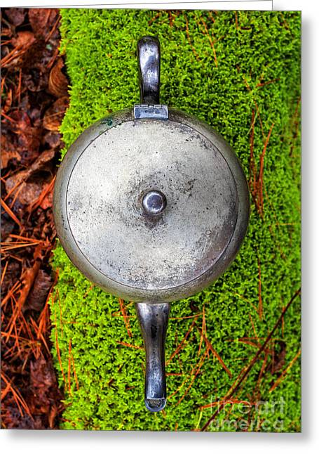 Pretending Greeting Cards - Silver teapot in the forest Greeting Card by Edward Fielding