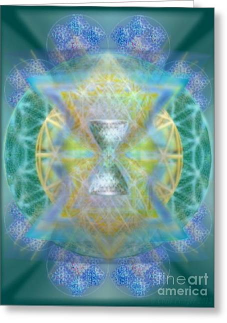 Silver Torquoise Chalicell Ring Flower Of Life Matrix Greeting Card by Christopher Pringer