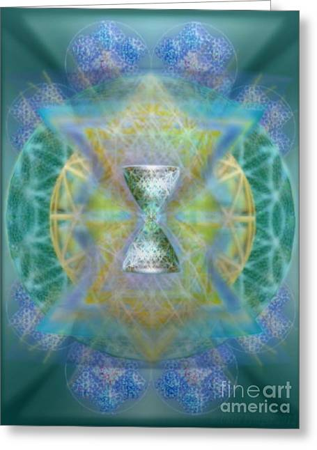 Silver Torquoise Chalicell Ring Flower Of Life Matrix II Greeting Card by Christopher Pringer