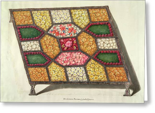 Silver Tray With Flowers Greeting Card by British Library