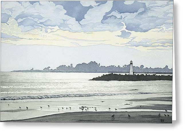 Santa Cruz Pier Paintings Greeting Cards - Silver Twilight Santa Cruz Greeting Card by Kerry Van Stockum