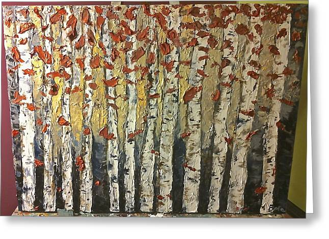 Van Gogh Style Greeting Cards - Silver Woods Greeting Card by Arabella Woods
