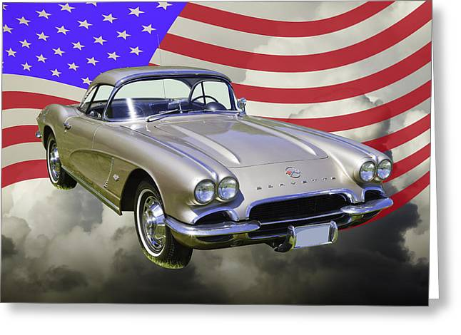 Old Auto Greeting Cards - Silver 1962 Chevrolet Corvette And American Flag Greeting Card by Keith Webber Jr