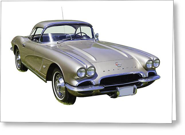 Antique Digital Art Greeting Cards - Silver 1962 Chevrolet Corvette Greeting Card by Keith Webber Jr