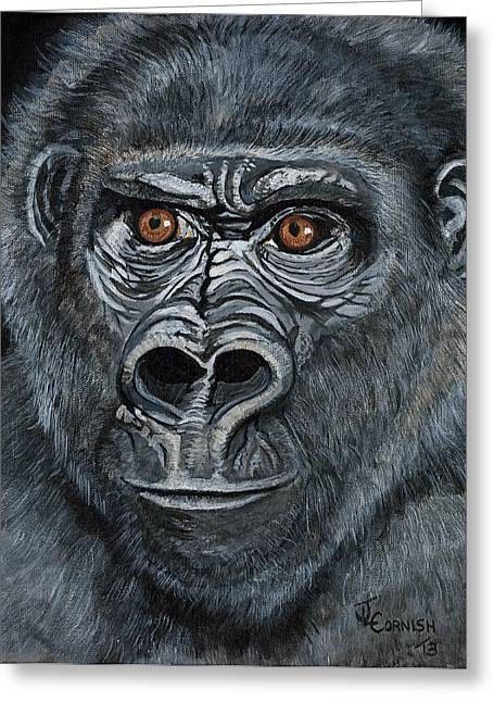 Character Portraits Greeting Cards - Silverback Greeting Card by Janis  Cornish