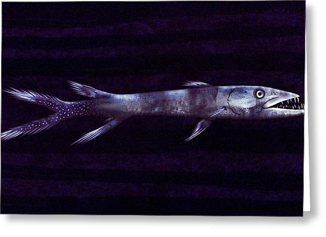Fish Print Greeting Cards - Silverblue Barracuda Greeting Card by Sesh Artwork