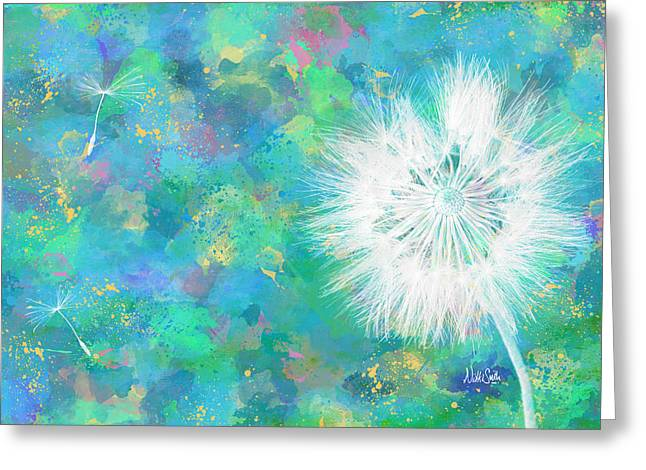 Blue Green Water Digital Greeting Cards - Silverpuff Dandelion Wish Greeting Card by Nikki Marie Smith