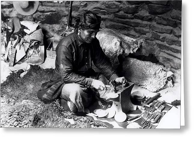 Metalwork Greeting Cards - Silversmith at work Greeting Card by William J Carpenter