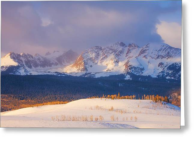 Snow Scenes Greeting Cards - Silverthorne Sunrise Greeting Card by Darren  White