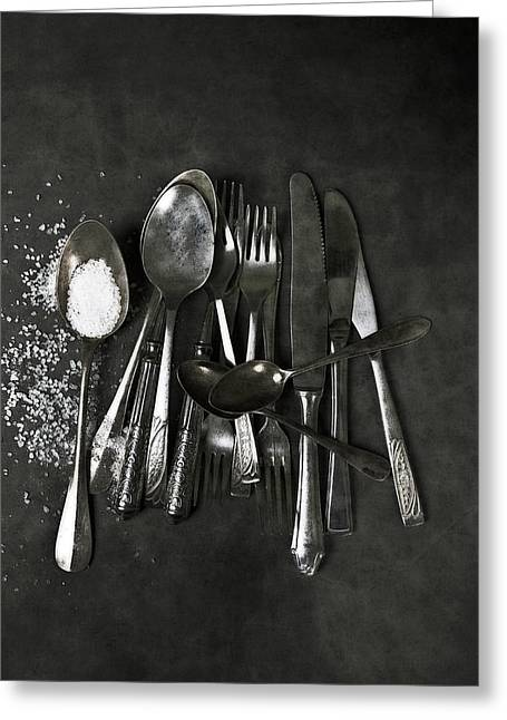 Coarse Greeting Cards - Silverware With Salt Greeting Card by Joana Kruse
