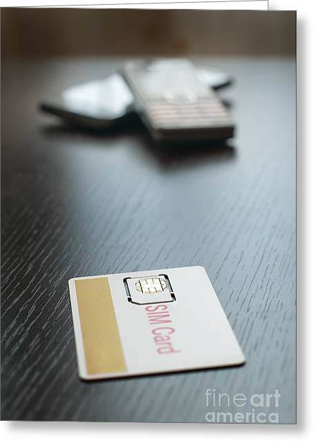 Cellphone Greeting Cards - SIM card and mobile phone Greeting Card by Deyan Georgiev