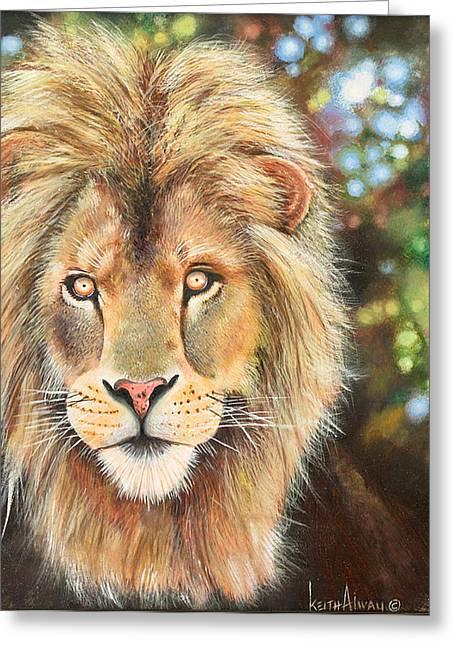 Zimbabwe Paintings Greeting Cards - Simba Greeting Card by Keith Alway
