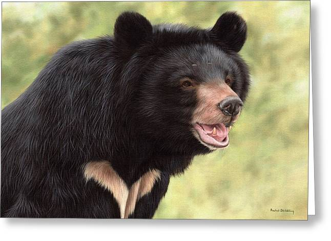 Asiatic Greeting Cards - Simba Moon Bear - In support of Animals Asia Greeting Card by Rachel Stribbling