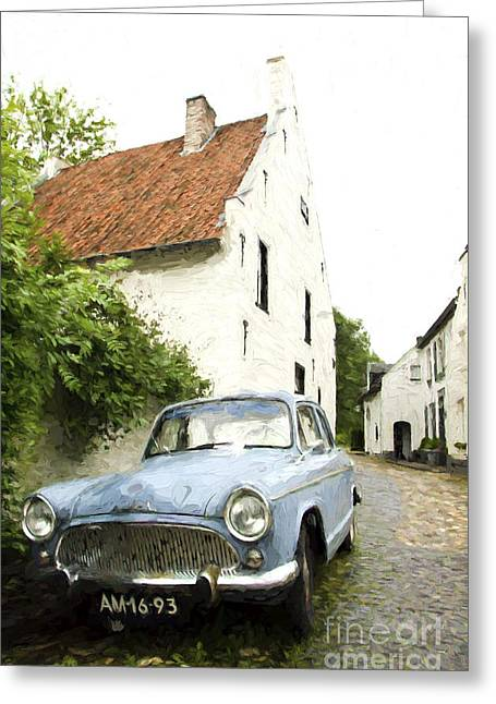 Limburg Digital Art Greeting Cards - Simca Oldtimer parked Greeting Card by Perry Van Munster