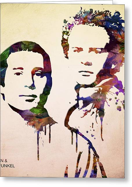 Simon Greeting Cards - Simon And Garfunkel Greeting Card by Aged Pixel