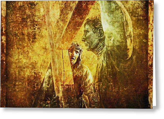 Simon Helps Jesus Via Dolorosa 5 Greeting Card by Lianne Schneider
