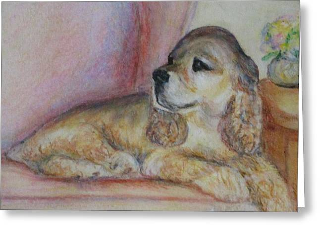 Puppies Pastels Greeting Cards - Simon Seated Greeting Card by Valerie Summers