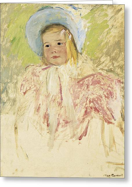 Cassatt Greeting Cards - Simone In A Blue Bonnet Greeting Card by Celestial Images