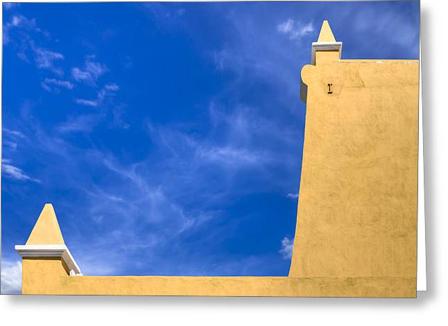 American Colonial Architecture Greeting Cards - Simple Architecture in Puebla Mexico - Blue And Gold Greeting Card by Mark Tisdale