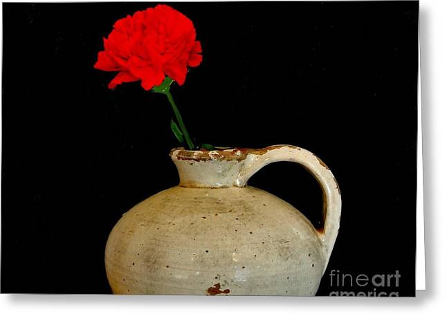 Pottery Pitcher Greeting Cards - Simple Carnation in Pottery Greeting Card by Marsha Heiken