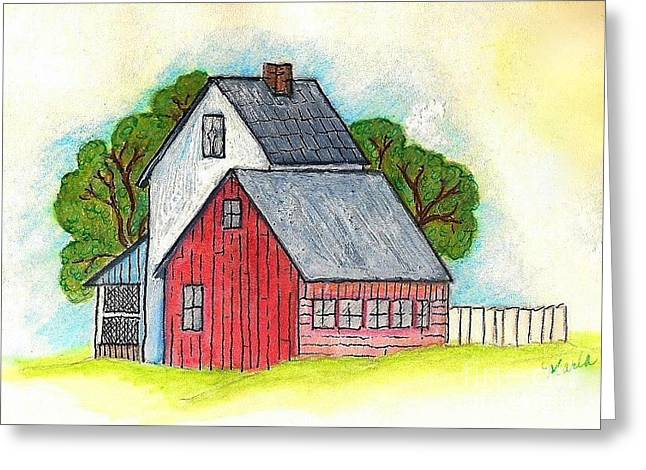 Amish Farms Mixed Media Greeting Cards - Simple Farm Life Greeting Card by MarLa Hoover