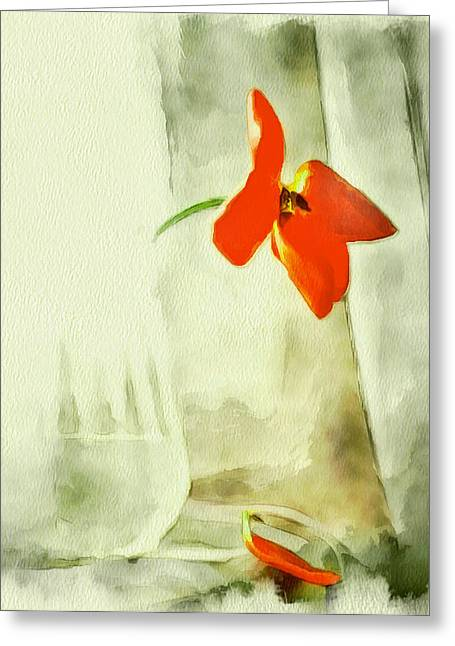 Interior Still Life Digital Greeting Cards - Simple flower in glass vase Greeting Card by Yury Malkov