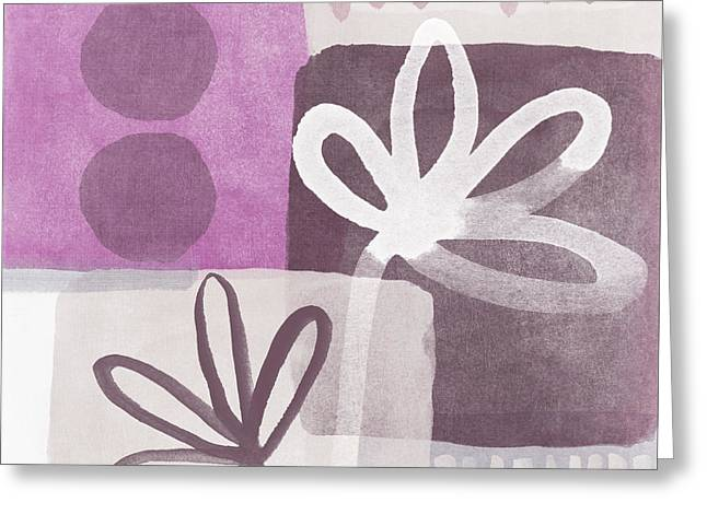 Simple Flowers- contemporary painting Greeting Card by Linda Woods