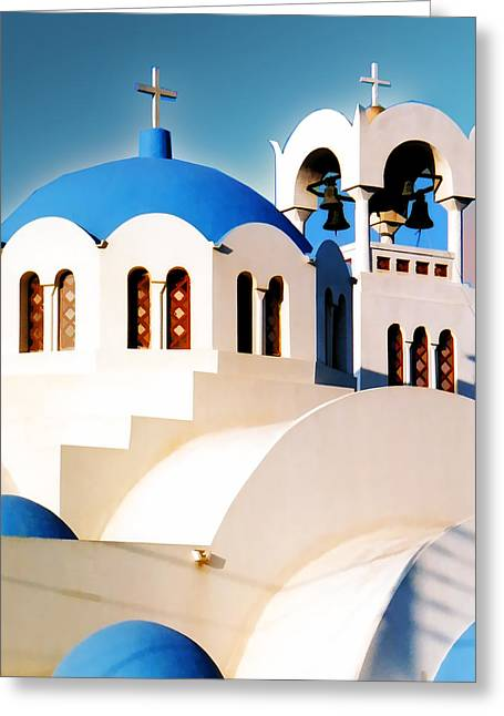Religious Paintings Greeting Cards - Simple Graphic Greek Church Greeting Card by Elaine Plesser
