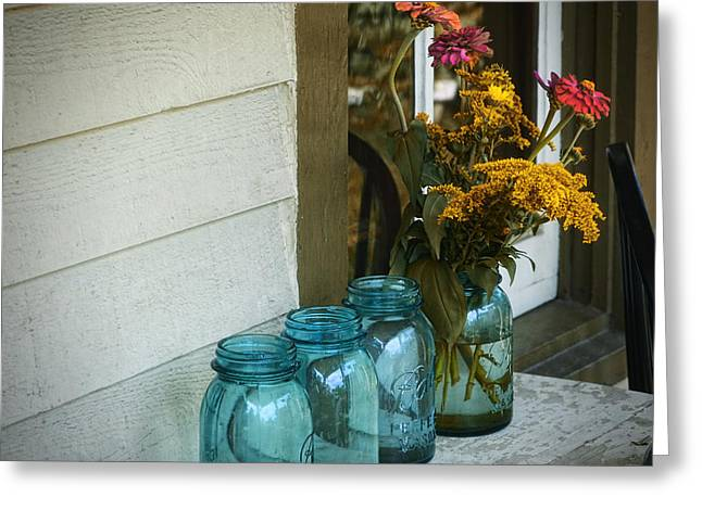 Canning Jar Greeting Cards - Simple Life 1 Greeting Card by Julie Palencia