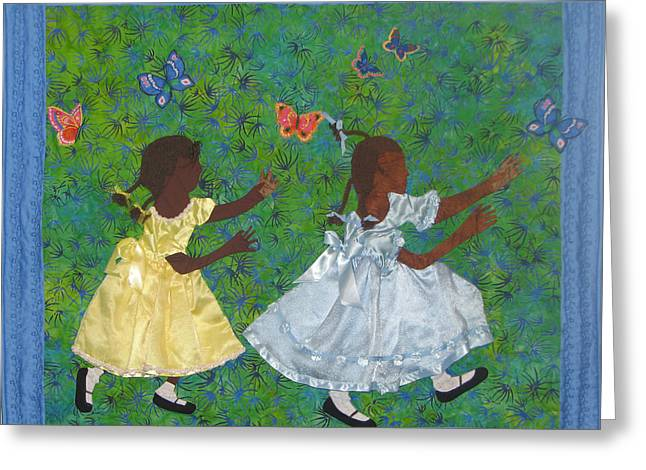 Child Tapestries - Textiles Greeting Cards - Simple Play Greeting Card by Aisha Lumumba