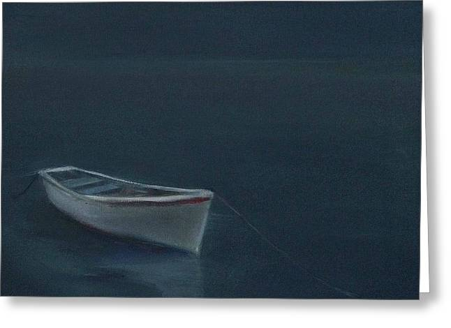 Sailboats In Water Greeting Cards - Simple Serenity - Lone Boat Greeting Card by Mary Hubley