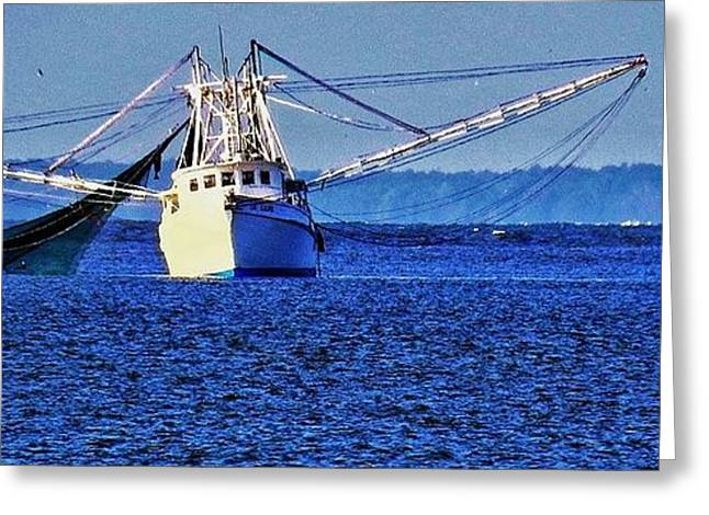 Boats In Water Greeting Cards - Simple Shrimpboat Greeting Card by Patricia Greer