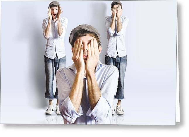 Hear No Evil Greeting Cards - Simple simon playing peek a boo Greeting Card by Ryan Jorgensen