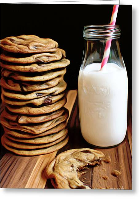 Cookies And Milk Greeting Cards - Simple Things Greeting Card by Larry Espinoza