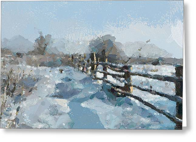 Great Mysteries Greeting Cards - Simple Winter Landscape Greeting Card by Yury Malkov