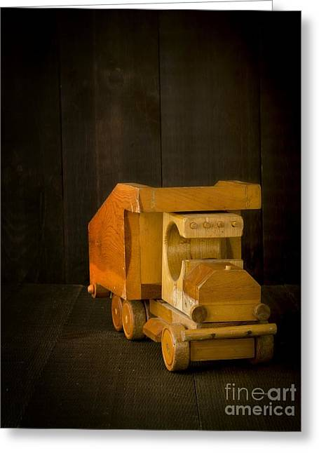 Childs Play Greeting Cards - Simpler Times - Old Wooden Toy Truck Greeting Card by Edward Fielding